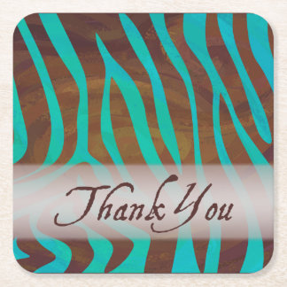 Brown and Teal Zebra Pattern Thank You Square Paper Coaster