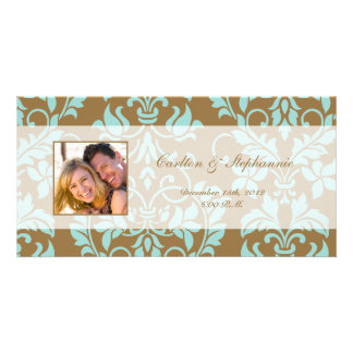 Brown and Tiffany Blue Damask Photo Announcement