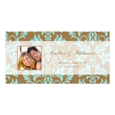 McTiffany Tiffany Aqua Brown and Tiffany Blue Damask Photo Announcement