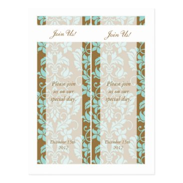 McTiffany Tiffany Aqua Brown and Tiffany Blue Damask Save Date Bookmarks Postcard