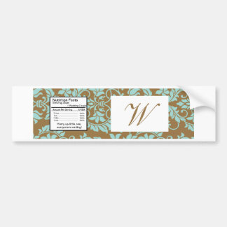 Brown and Tiffany Blue Damask Water Bottle Label