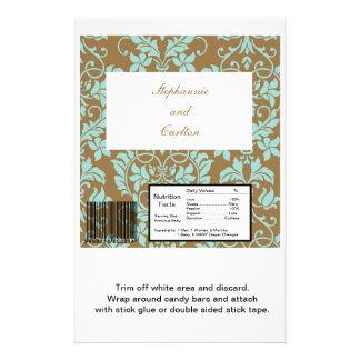 Brown and Tiffany Blue Damask Wedding Candy Bar Flyer