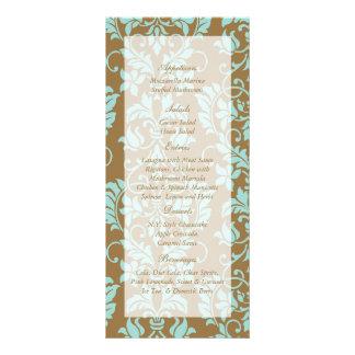 Brown and Tiffany Blue Damask Wedding Menu Tags