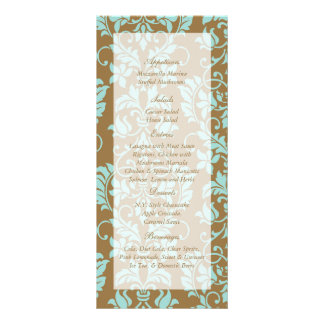 Brown and Tiffany Blue Damask Wedding Menu Tags Rack Card Template