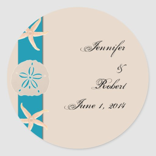 Brown and Turquoise Band Starfish Envelope Seal Classic Round Sticker