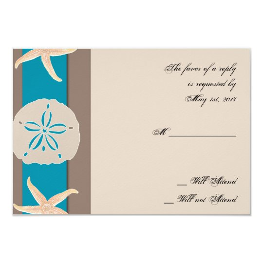 Brown and Turquoise Band Starfish Response Card