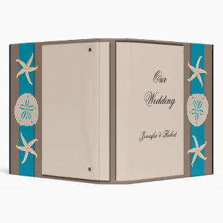 Brown and Turquoise Band Starfish Wedding Album 3 Ring Binders