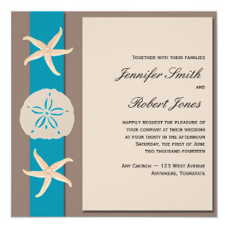 "Brown and Turquoise Band Starfish Wedding 5.25"" Square Invitation Card"