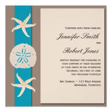 Brown and Turquoise Band Starfish Wedding Invitation