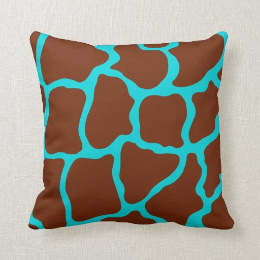 Brown and Turquoise Giraffe Pillow Zazzle