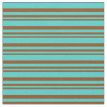 [ Thumbnail: Brown and Turquoise Lines Fabric ]