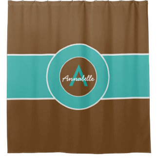 Brown And Turquoise Shower Curtains | Zazzle