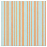 [ Thumbnail: Brown and Turquoise Stripes/Lines Pattern Fabric ]