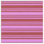[ Thumbnail: Brown and Violet Stripes Pattern Fabric ]