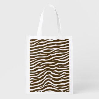 Brown and White Animal Print Zebra Stripes Reusable Grocery Bag