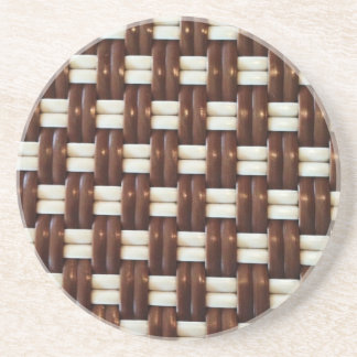 Brown and White Basket Weave Sandstone Coaster