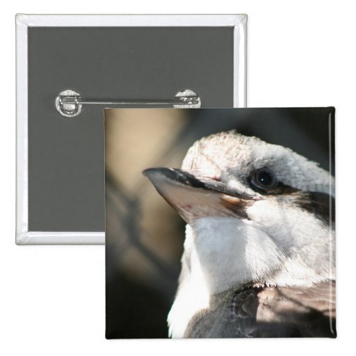brown and white bird head view 2 inch square button