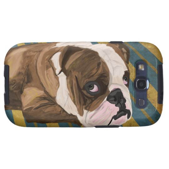 Brown and White Bulldog Lying, Blue & Yellow Back Galaxy S3 Cover