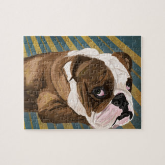 Brown and White Bulldog Lying, Blue & Yellow Back Jigsaw Puzzle