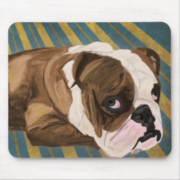 Brown and White Bulldog Lying, Blue & Yellow Back Mouse Pad