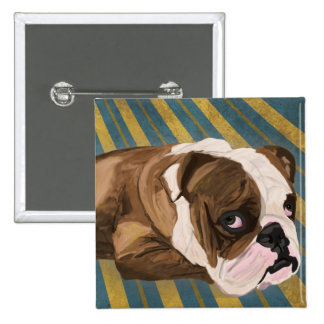 Brown and White Bulldog Lying, Blue & Yellow Back Pinback Button