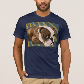 Brown and White Bulldog Lying, Blue & Yellow Back T-Shirt