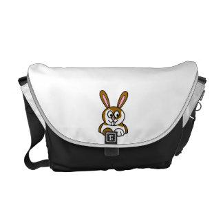 Brown and White Bunny Messenger Bag