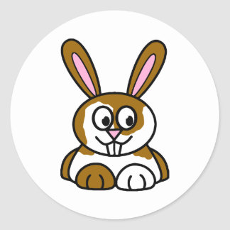 Brown and White Bunny Round Stickers