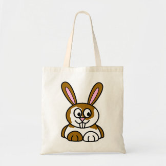 Brown and White Bunny Tote Bag