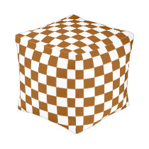 Brown and White Checked Pouf
