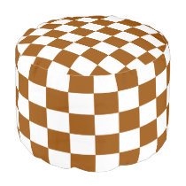 Brown and White Checkered Pouf