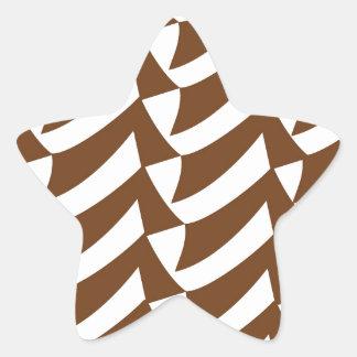 Brown and White Checks Star Sticker