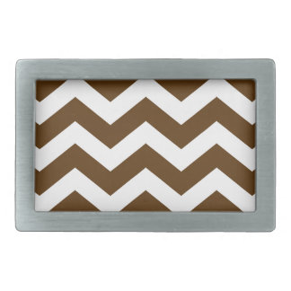 Brown And White Chevron Stripes Belt Buckle