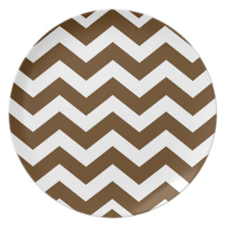 Brown And White Chevron Stripes Melamine Plate
