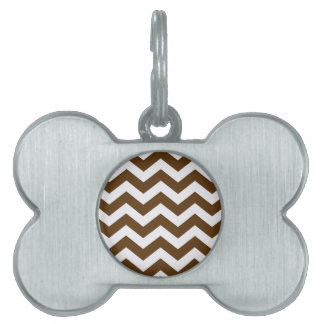 Brown And White Chevron Stripes Pet Tag