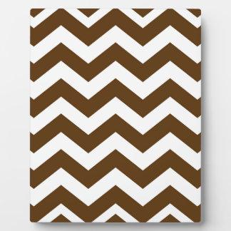 Brown And White Chevron Stripes Plaque