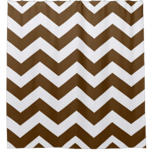 Brown And White Chevron Stripes Shower Curtain