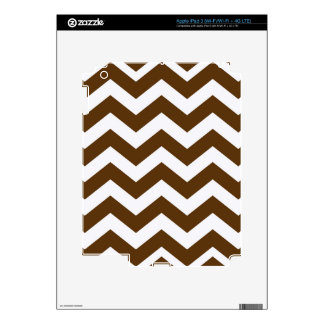 Brown And White Chevron Stripes Skins For iPad 3