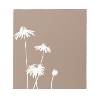 Brown and White Chic Flower Memo Pad