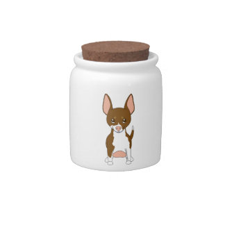 Brown and White Chihuahua Candy Jar