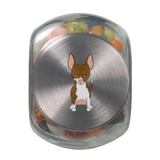 Brown and White Chihuahua Glass Jars