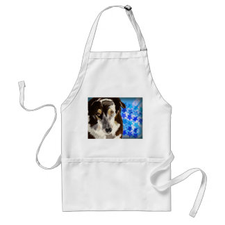 Brown and white coat dog on blue stars background apron