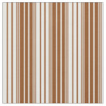 [ Thumbnail: Brown and White Colored Stripes Fabric ]
