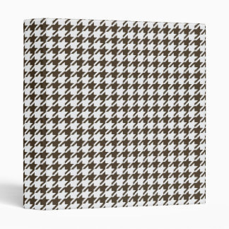 Brown And White Combination Houndstooth Vinyl Binder