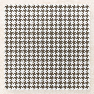 Brown And White Combination Houndstooth Glass Coaster