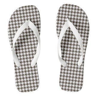 Brown And White Combination Houndstooth Flip Flops
