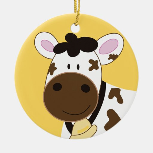 Brown and White Cow Farm Customized Ornament