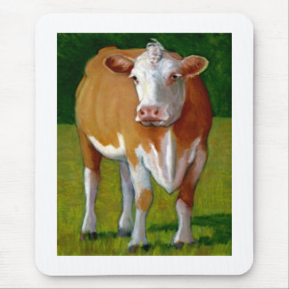 BROWN AND WHITE COW MOUSE PAD