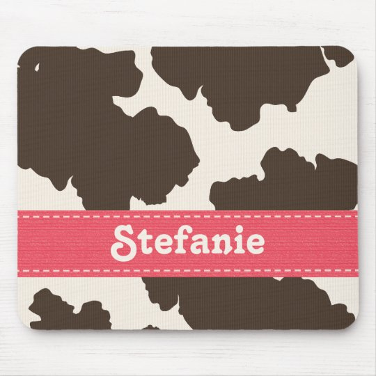 Brown and White Cow Print Mouse Pad