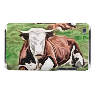 brown and white cow sitting painting iPod touch cover